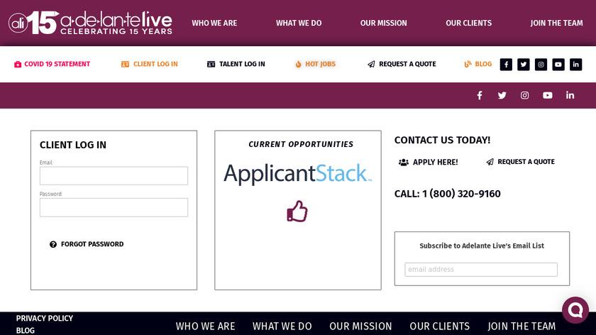Adelante Live Landing Page