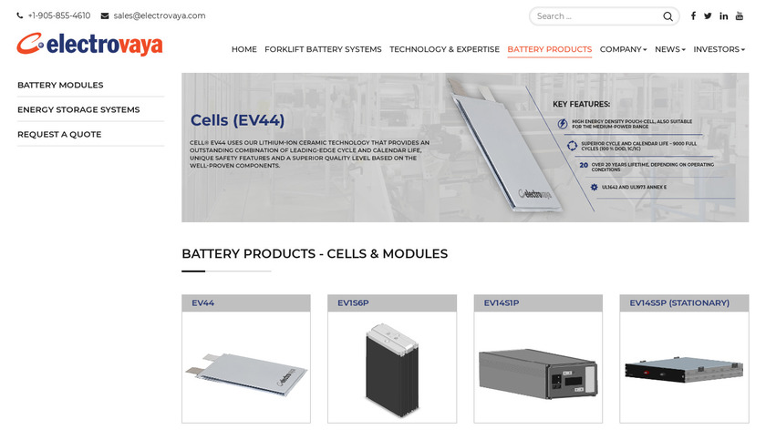 Electrovaya Energy Storage Systems Landing Page