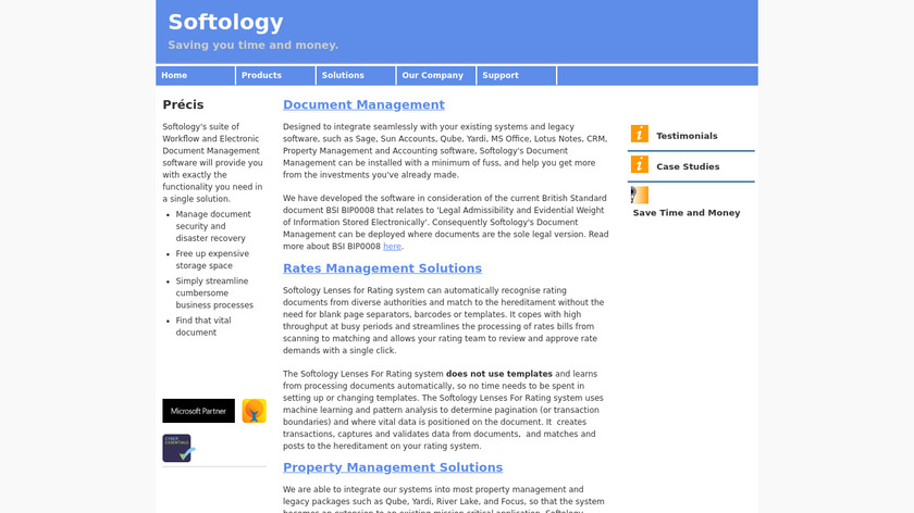 SOFTOLOGY Document Management Landing Page