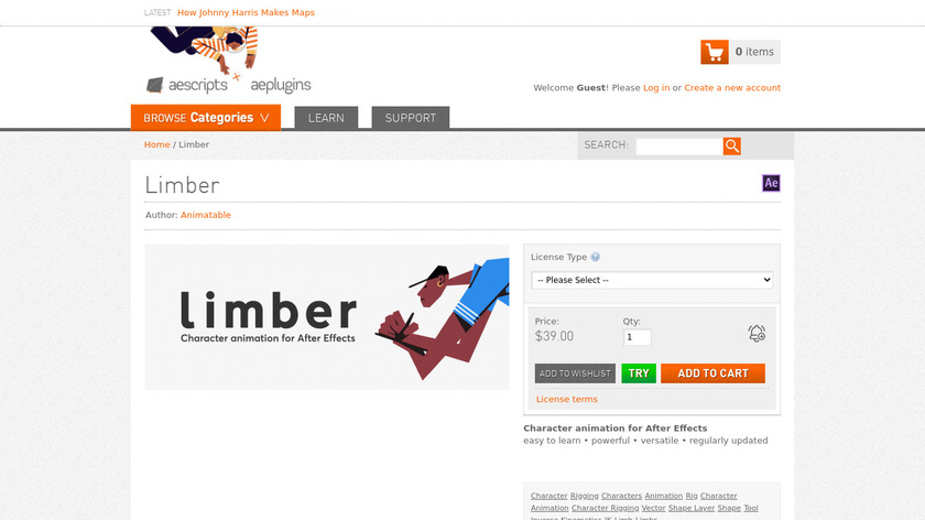 Limber for After Effects Landing Page