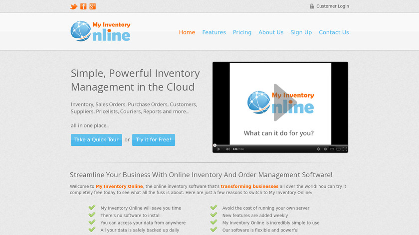 My Inventory Online Landing Page