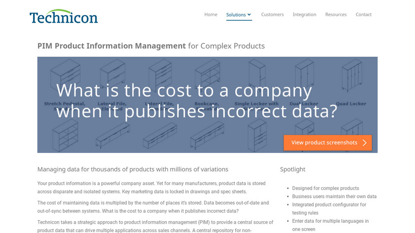 Technicon PIM for Complex Products Landing Page