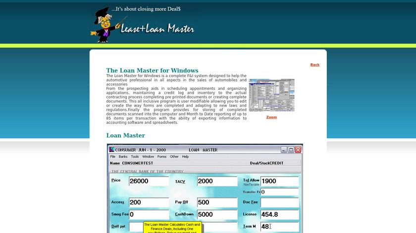 LeaseMaster Loan Master Landing Page