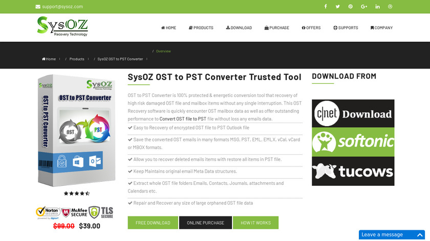 Sysoz OST to PST Converter Landing Page