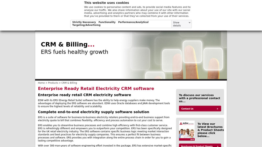 EDW Energy Retail Suite Landing Page