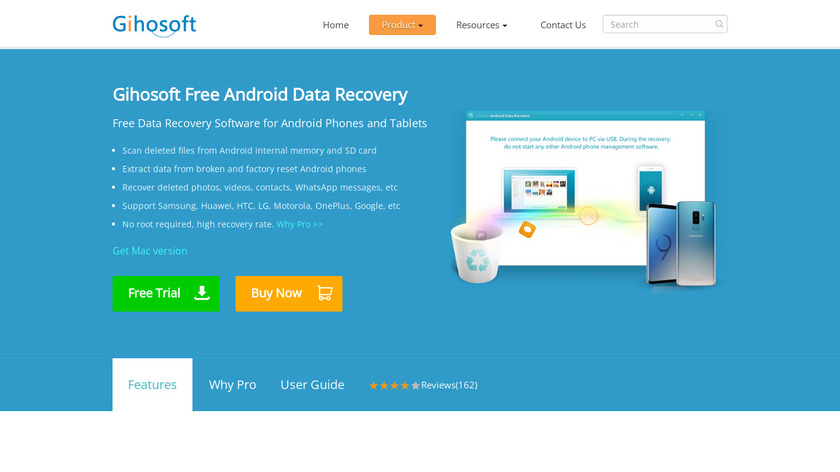 Gihosoft Free Android Recovery Landing Page