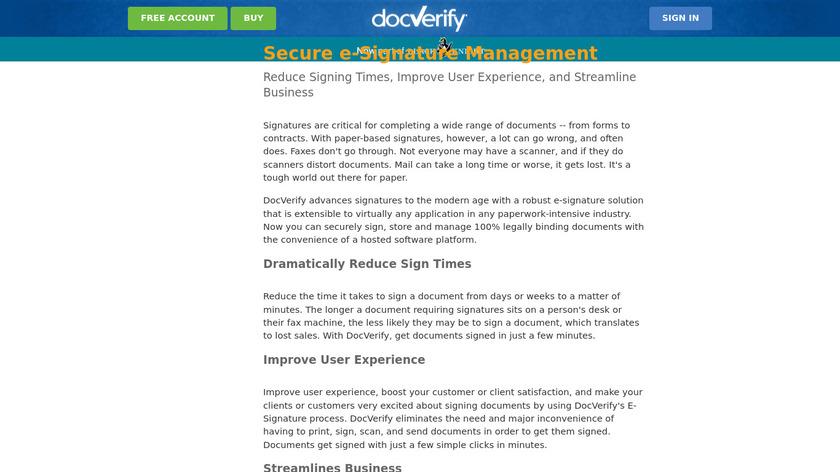 DocVerify Electronic Signature Landing Page