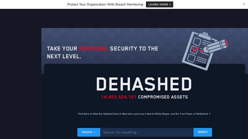 DeHashed Landing Page