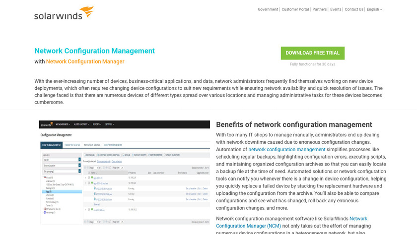 SolarWinds Network Configuration Manager Landing Page