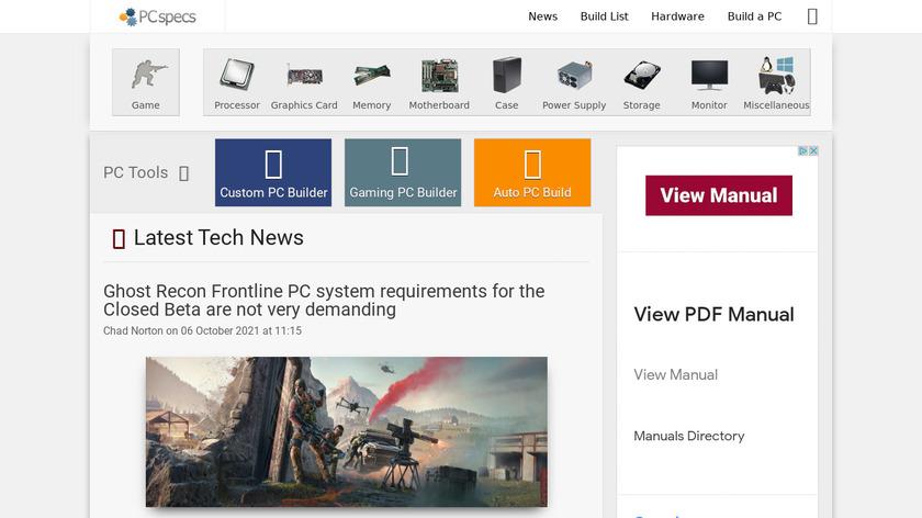 PCspecs Landing Page