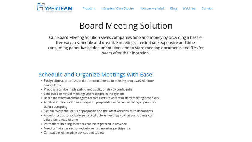 HyperTeam Board Meeting Management Landing Page