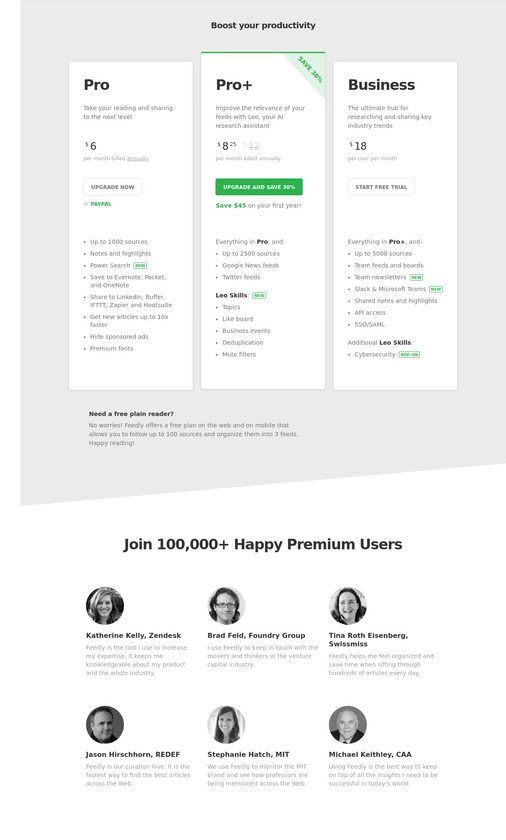 Feedly Pricing