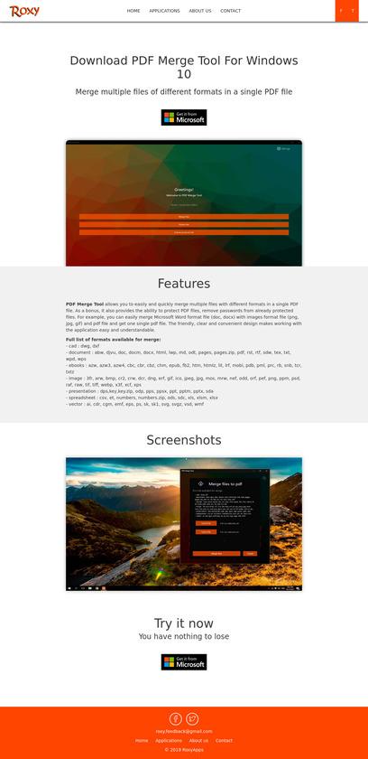 RoxyApps PDF Merge Tool Pricing