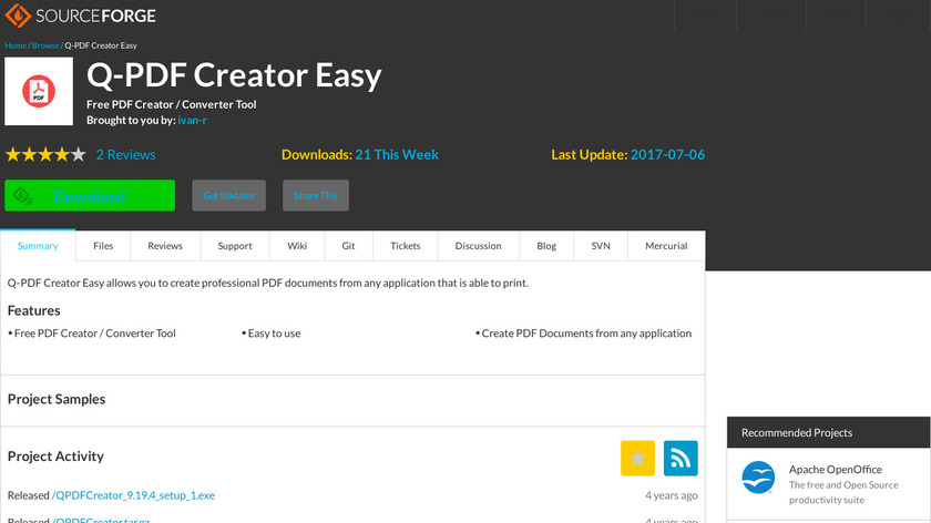 Q-PDF Creator Easy Landing Page