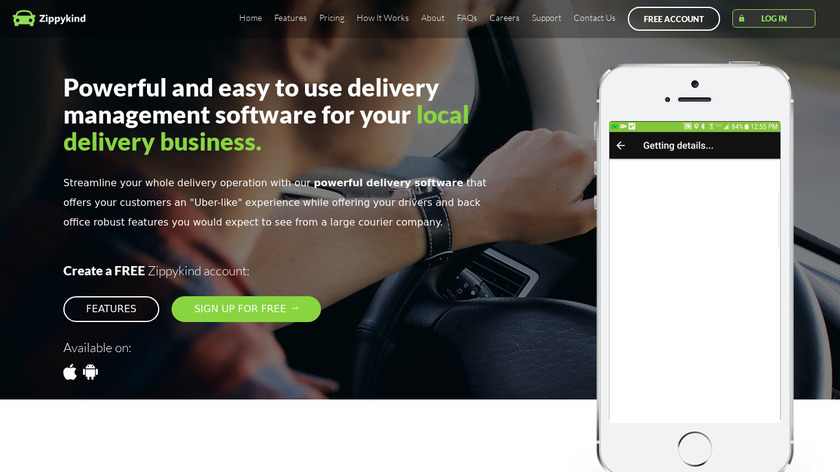 Zippykind Delivery Software Landing Page